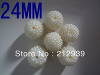 24MM White 100Pcs A Lot Pearl Shamballa Rhinestone Acrylic Beads Paved Resin Stones Disco Balls For Fashion Jewelry Making!