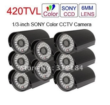 "8pcs of lot, 1/3""SONY Super HAD CCD Waterproof Color wired CCTV Cameras(China (Mainland))"