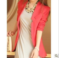 2013 women's super medium-long collarless small suit jacket suit