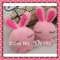 Free shipping LOVE rabbits 8cm plush toy pendant mix colors 100pcs/lot