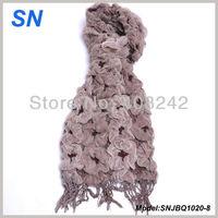 Two-toned Winter Warm Bubble Ruffle Yarn Scarves