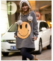 free shipping Fashion Big Smile Even Cap Long Coat Deep Grey YL11072211-1