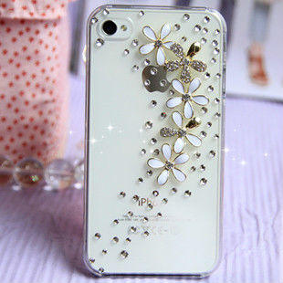 HK Free Shipping Bulk New Luxury 3D floret Bling Crystal Diamond flower Case Cover For iPhone 5 5G Retail Package Accessory
