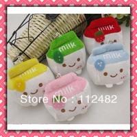 Free shipping milk boxes 6cm mix colors 100pcs/lot plush toy pendant