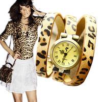 Hot women watch! Leopard Retro genuine leather watchband bracelet watch!