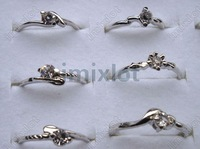 Wholesale 100pcs/lot 925 Sterling Silver Super Zircon Nice Wedding Ring.TOP quality