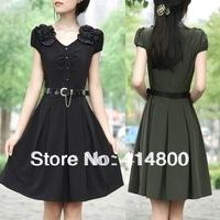 Free shippping !New arrival 2014 summer plus size clothing elegant short-sleeve slim dress with belt  3XL-5XL