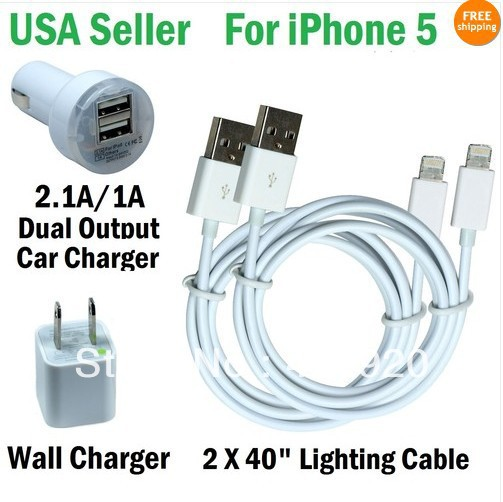 Charging Kits - 2 Cable + Wall & Dual Output Car Charger for iphone 5(China (Mainland))