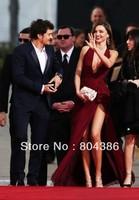 Zuhair Murad evening dress 70th 2 Golden Globes Red carpet Michelle Phan deep V neck slit side red wine sexy Celebrity Dress