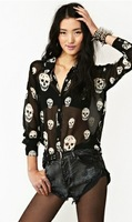 Free shipping,Fashion skull printed long-sleeved chiffon ladies blouse collar women's shirt