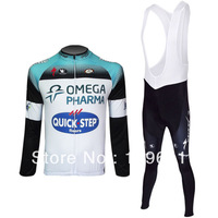 free shipping!2013 quick step team long sleeve cycling jersey and bib pants Kit,biking clothes,bicycle wear,bike jersey
