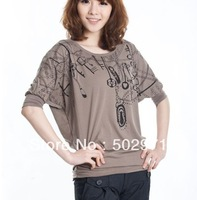 free shipping women's T-shirt   Batwing Sleeve  half  shirt big size print cloth