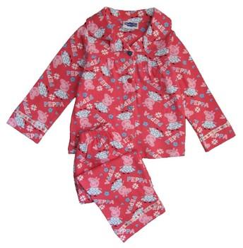 Hot sale ! Brand New Peppa pig girls long sleeved top + pants flannel flannelette winter pyjamas pajamas sleepwear set
