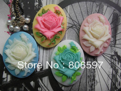 Wholesale DIY accessory (mix color) 30*40mm flat back resin flower cameos cabochon jewelry findings SZ161(China (Mainland))