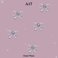 DIY AB Rhinestones Jewelry Blue 3D Bow Tie Alloy Nail Art Decoration Glitter Decals Size: 12*9mm #A17