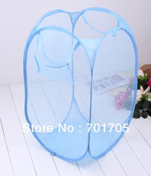 Best selling~Foldable Storage Laundry Hamper Clothes Basket Travel Mesh Laundry Washing Bag   free shipping