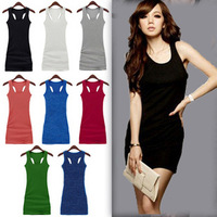Free shipping Spaghetti strap vest basic full dress candy color tank female 100% ultra long cotton