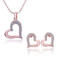2013 Holiday gift Heart 18K gold plated fashion Rhinestone necklace earrings jewelry set N22F2
