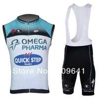 free shipping!New professional 2013 Quick step cycling vest and bib shorts Kit,summer bike clothes,bicycle sleeveless wear
