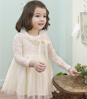2013 spring summer new designer kids lace collar rose flower long sleeve dress children grace dresses