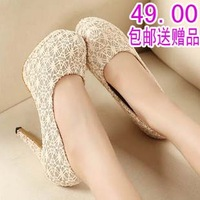 Fashion sexy lace 2013 shallow mouth platform round toe thin heels single shoes high-heeled shoes work shoes