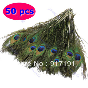 Free Shipping 50pcs Beautiful Natural Peacock Tail Feathers About 10-12inch For DIY Decoration