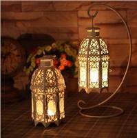 Romantic Elegance Classical Iron White stand Candle Holders Zakka Storm Lantern Wedding Home Decoration