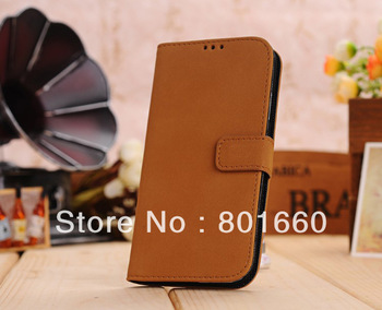 5pcs/lot 4 Colors Choice Retro Style PU Leather With Card Slot Flip Stand Cover Case For Samsung Galaxy S IV S4 I9500
