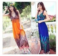 Hot Sale 2013 Fashion Women Graceful Printed Beach Dress Bohemian Style Free Size Sree Shipping CW039