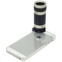 8X Zoom Telescope Camera Lens For Apple iPhone 5 5G 5th with Cover Case + Retail Box , Free Shipping+Drop Shipping