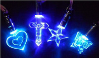 2pm luminous light blue led flashing necklace luminous fashion pendant glowing magnet necklace