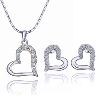 Holiday gift Heart 18K gold plated fashion Rhinestone necklace stud earrings jewelry set 6GS3R