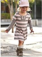 2014 New Arrive Little Girs Spring Dress Kids Cotton Stripe Novelty Dress Children Casual Clothing Free Shipping