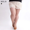 Plus size clothing mm sweet high quality 100% laciness cotton cake short skorts 7300 safety pants