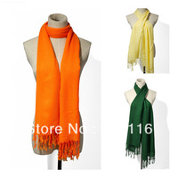 Free Shipping 2013 New Style Fashion Ladies / Womens Fringe Solid Long Soft Classic Scarf Scarves More Colors