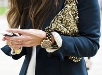 Women's Fashionable Gold Black Sequins Shine Bling Clutch Handbag Purse
