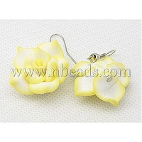 Closeout Polymer Clay Earrings,  with Brass Hook,  Yellow,  Flower,  Size: about 40mm long; flower: about 28mm in diameter