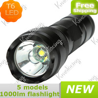 Repair New 1000lm Led Flash Light T6 XML Torch With Flashlight Cree Aluminum High 5mode BlackPower Lamp Free shipping