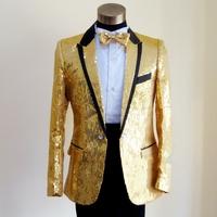 2013 male costume golden flower costume black silver paillette suit staphyloccus