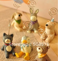 Korea style Stationery cartoon small animal design photo clip memo clip 20pcs/lot FreeShipping