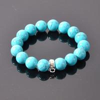 Charm Bracelets -- Free Shipping 12mm Turquoise Stone 925 Silver Bracelets TS XB049