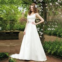 Double-shoulder lace spaghetti strap wedding dress quality fashion wedding dress the bride wedding dress