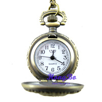 wholesale Retro fashion jewelry. Rose necklace watch Bronze pocket watch.Free shipping