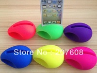 100pcs/lot egg shape silicon rubber stand for iPhone 4 4G  5 ,