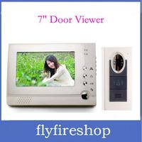 "New 7"" TFT display screen Digital door viewer 6 IR LED nightvision Handfree Intercom Doorbell Peephole Viewer Free Shipping"