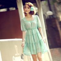 2013 summer small fresh romantic slim o-neck chiffon short-sleeve dress elegant one-piece dress