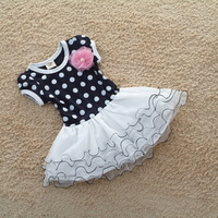 2013Freeshipping!baby girl  princess big dot summer dress with flower /girls  short-sleeve dress dot puff skirt