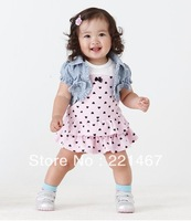 Retail ,cute  girl denim set princess  suit ,baby girl clothing  BL11
