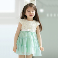 2013Hot!5pcs/lot wholesalekids girl Fresh rose chiffon one-piece dress/ short-sleeve princess dress