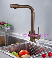NEW Hot Sale deck mounted 3-way single hole 2 handles kitchen faucet sink pure water filter mixer tap antique bronze